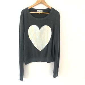 Wildfox Popover Sweatshirt with Silver Heart